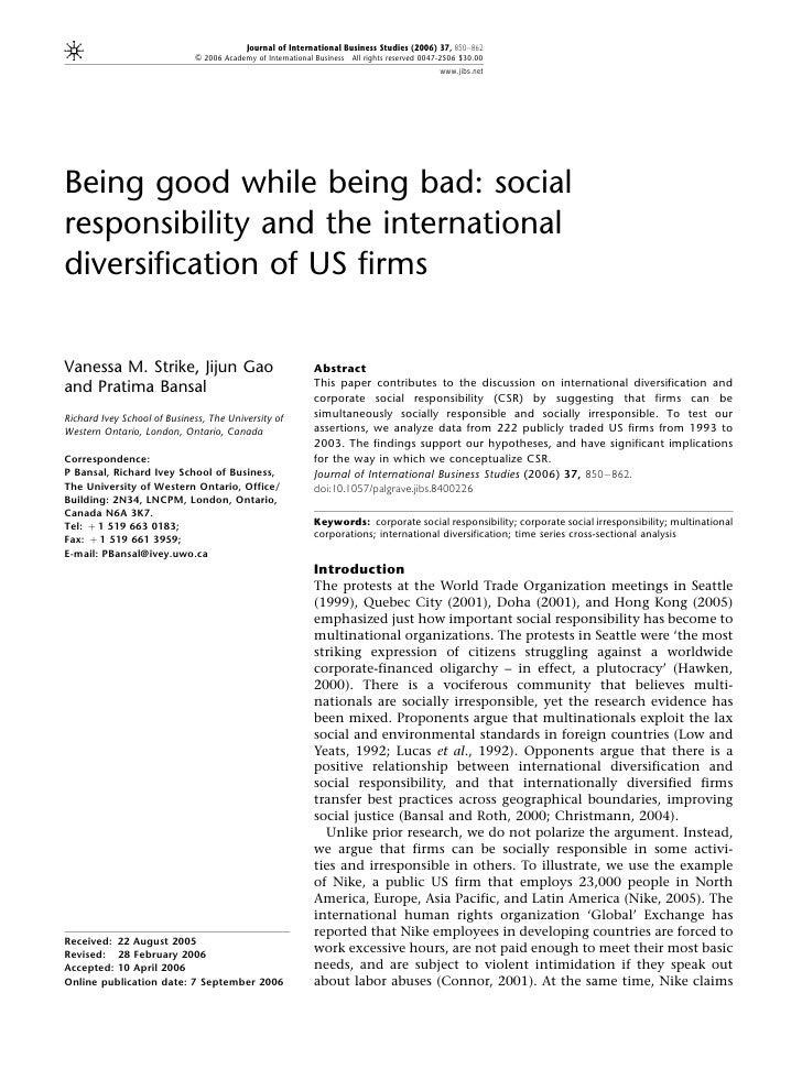 Journal of International Business Studies (2006) 37, 850–862                             & 2006 Academy of International B...