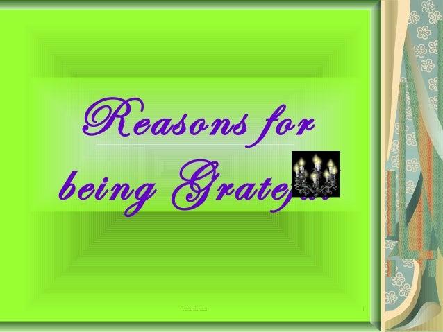 Reasons for being Grateful Vasudevan  1