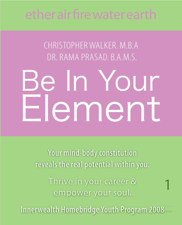 Be in Your Element book - Constitutional Analysis - Your true Natur