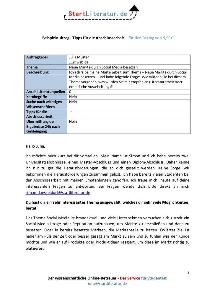 Beispielauftrag –Tipps für die Abschlussarbeit – für den Betrag von 9,99€Auftraggeber              Julia Muster           ...
