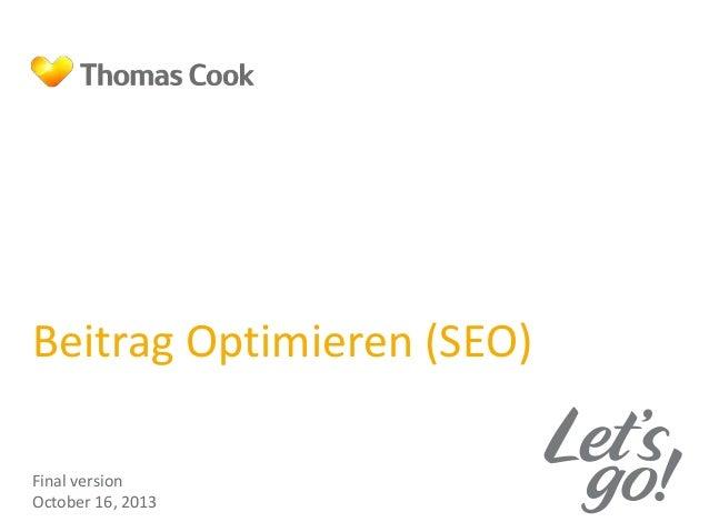 Beitrag Optimieren (SEO) Final version October 16, 2013