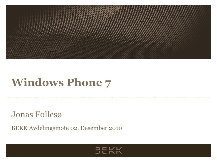 An overview of the Windows Phone 7 platform