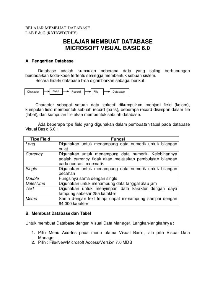 BELAJAR MEMBUAT DATABASE MICROSOFT VISUAL BASIC 6.0