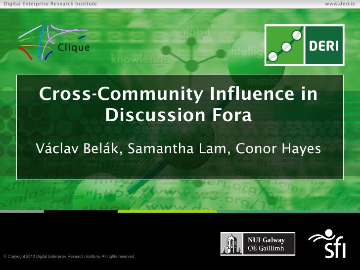 Cross-Community Influence in Discussion Fora