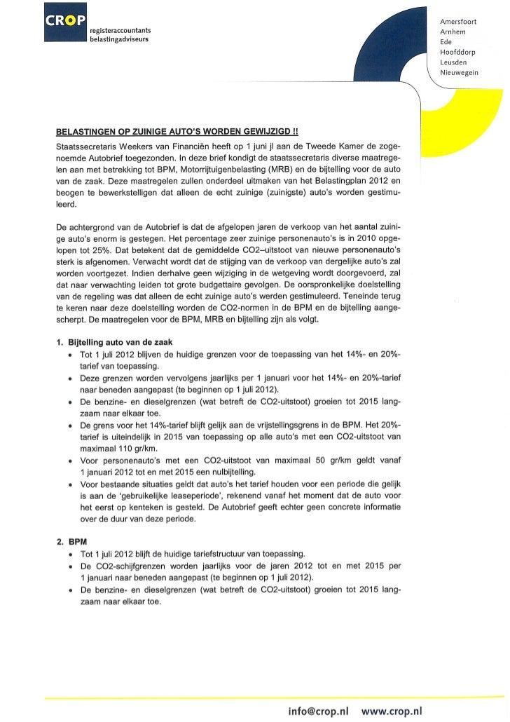 CROP publicatie over voorgestelde wijzigingen autobelasting