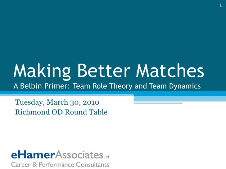 Making Better Matches A Belbin Primer:  Team Role Theory and Team Dynamics Tuesday, March 30, 2010 Richmond OD Round Table