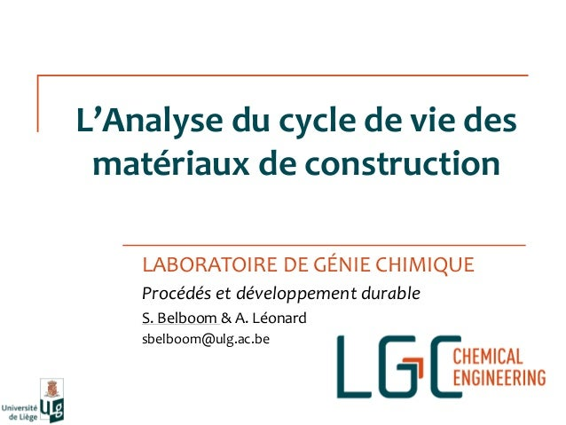 Analyse du cycle de vie des mat riaux de construction s for Analyse de sol construction