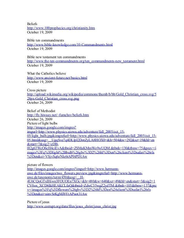 Beliefs http://www.100prophecies.org/christianity.htm October 19, 2009 Bible ten commandments http://www.bible-knowledge.c...