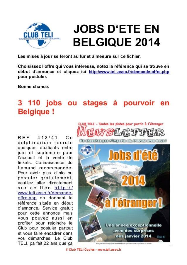 Belgique jobs-ete-2014