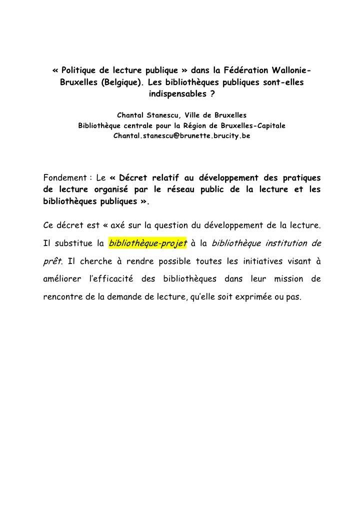 « Politique de lecture publique » dans la Fédération Wallonie-    Bruxelles (Belgique). Les bibliothèques publiques sont-e...