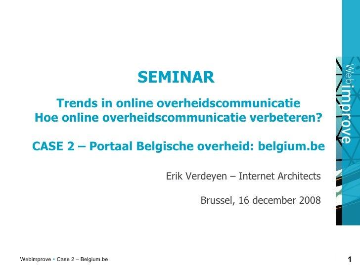 Belgium.Be Website Strategie Erik Verdeyen 2008 12 16
