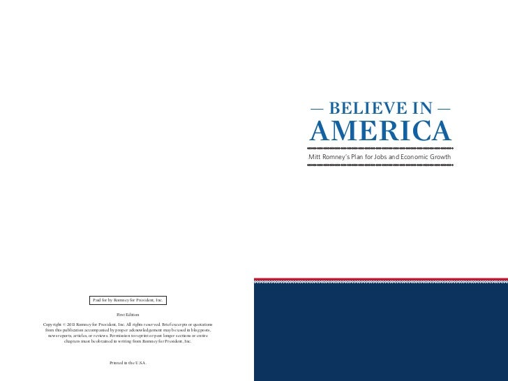 Believe in America Plan for Jobs and Economic Growth