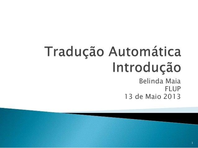 Belinda Maia - Introdução à tradução automática