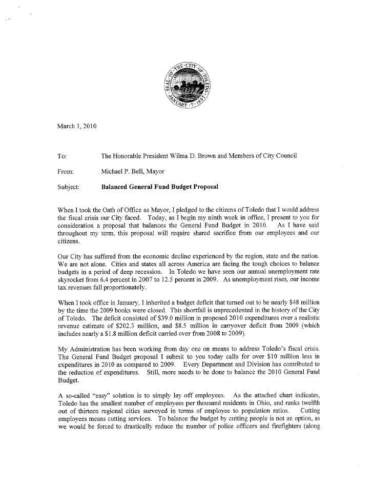 Bell Toledo Budget Proposal
