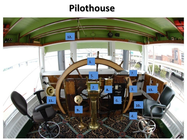 The PilotHouse This is the only structure on the top of the boat. It sits on the roof of the texas cabin. From this high p...