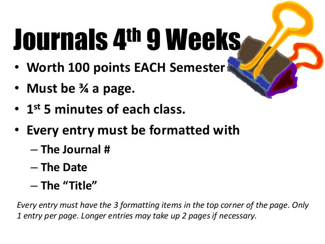 Journals 4th 9 Weeks • Worth 100 points EACH Semester • Must be ¾ a page. • 1st 5 minutes of each class. • Every entry mus...