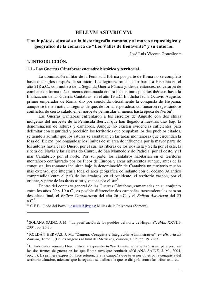 BELLVM ASTVRICVM. Una hipótesis ajustada a la historiografía romana y al marco arqueológico y    geográfico de la comarca ...