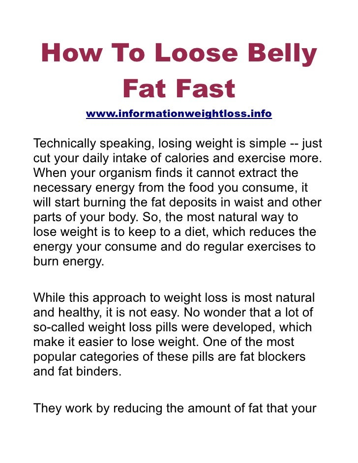 How To Loose Belly Fat Fast
