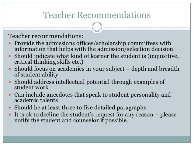 teacher recommendations teacher recommendations provide the admissions ...