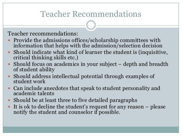 Teacher recommendations..??