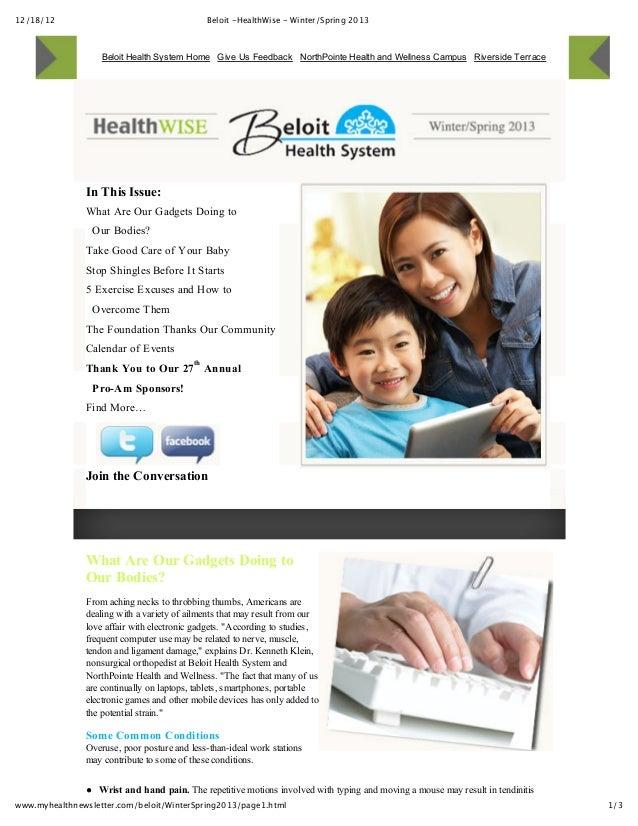 Beloit Health System News Letter for 2013