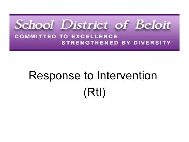 Response to Intervention (RtI): School District of Beloit, Wis.