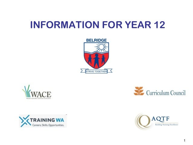 Belridge SHS information for Year 12 VET 2013