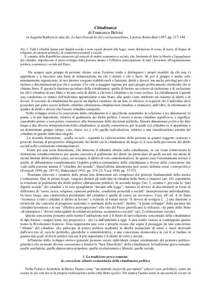Cittadinanza                                                      di Francesco Belvisi    in Augusto Barbera (a cura di), ...