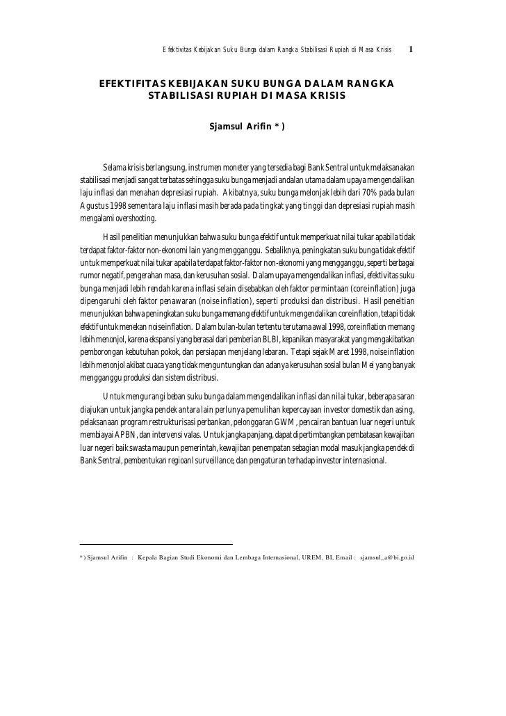 Efektivitas Kebijakan Suku Bunga dalam Rangka Stabilisasi Rupiah di Masa Krisis   1      EFEKTIFITAS KEBIJAKAN SUKU BUNGA ...