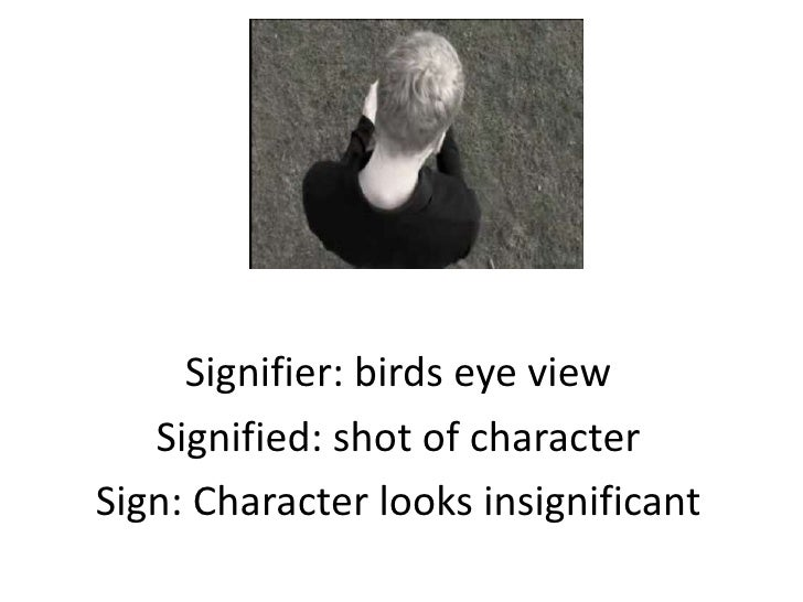 Signifier: birds eye view   Signified: shot of characterSign: Character looks insignificant