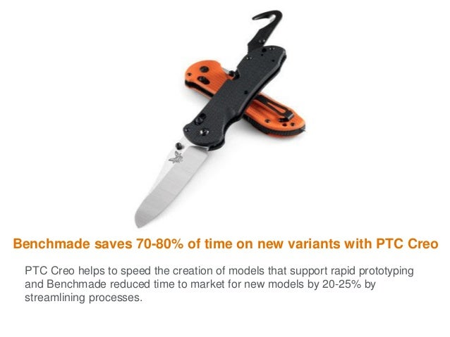 Benchmade saves 70-80% of time on new variants with PTC Creo PTC Creo helps to speed the creation of models that support r...