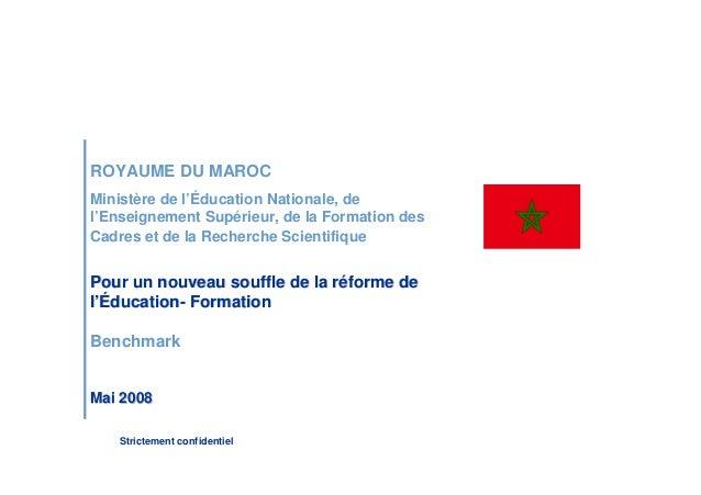 Pour un nouveau souffle de la réforme de l'Éducation- Formation :Benchmark