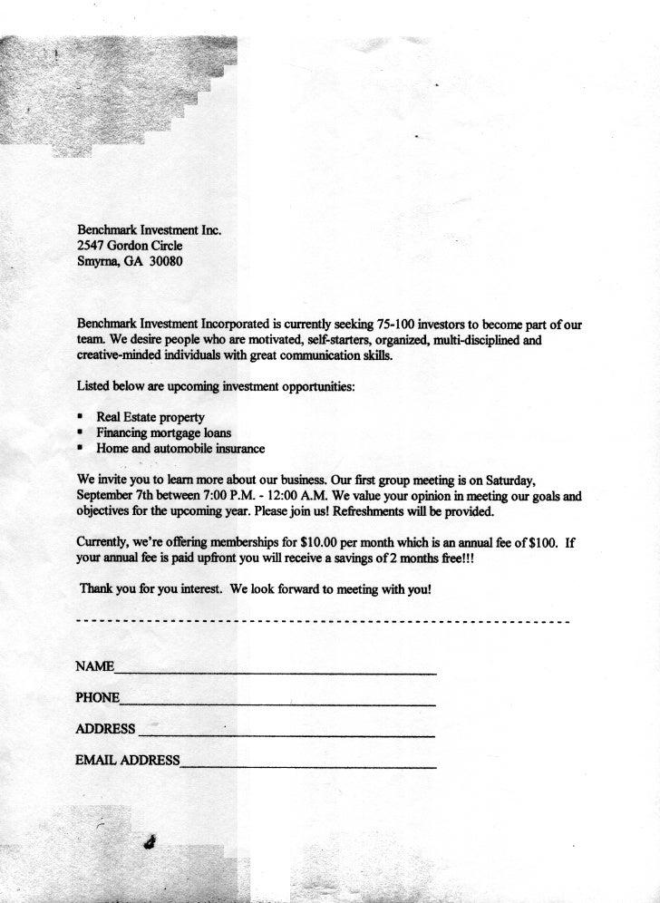 Benchmark Business Letter Edited & Revised