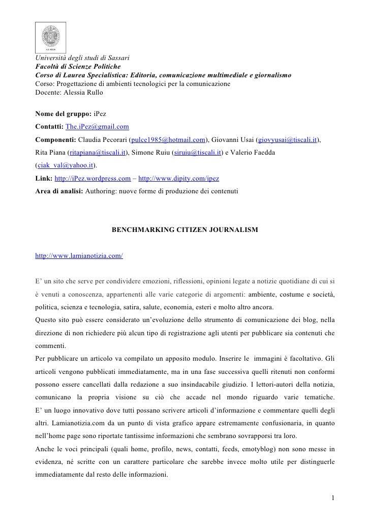 Università degli studi di Sassari Facoltà di Scienze Politiche Corso di Laurea Specialistica: Editoria, comunicazione mult...