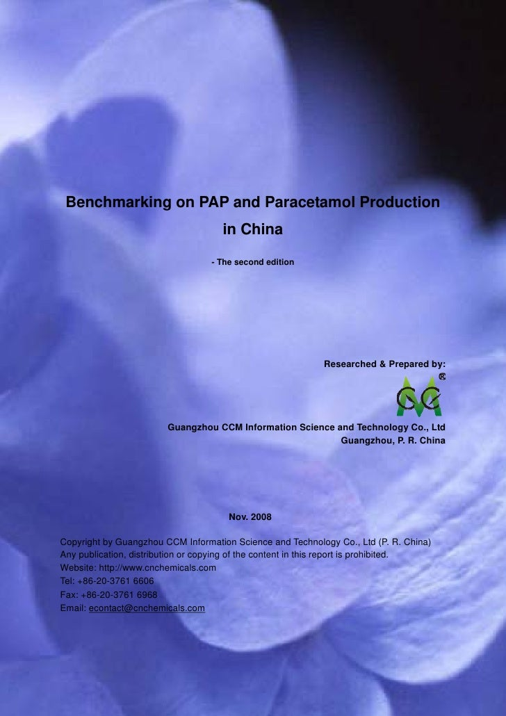 CCM Data & Primary Intelligence      Benchmarking on PAP and Paracetamol Production                                       ...