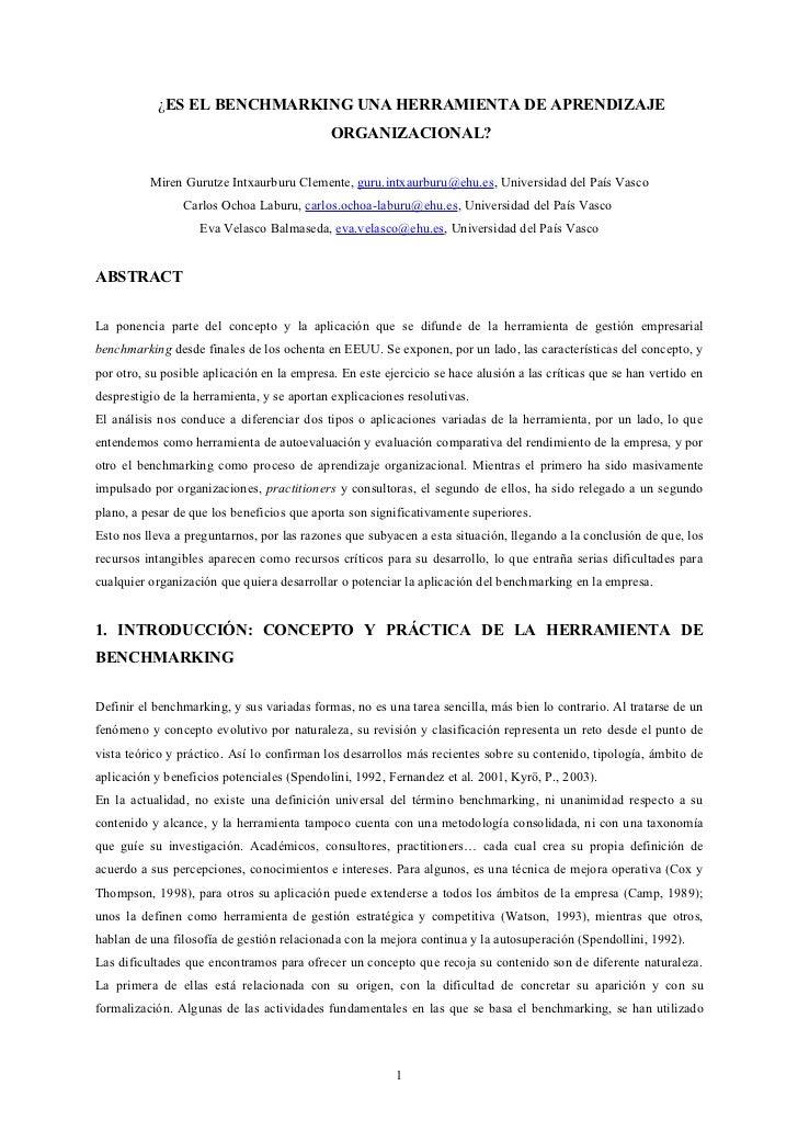 ¿ES EL BENCHMARKING UNA HERRAMIENTA DE APRENDIZAJE                                             ORGANIZACIONAL?          Mi...