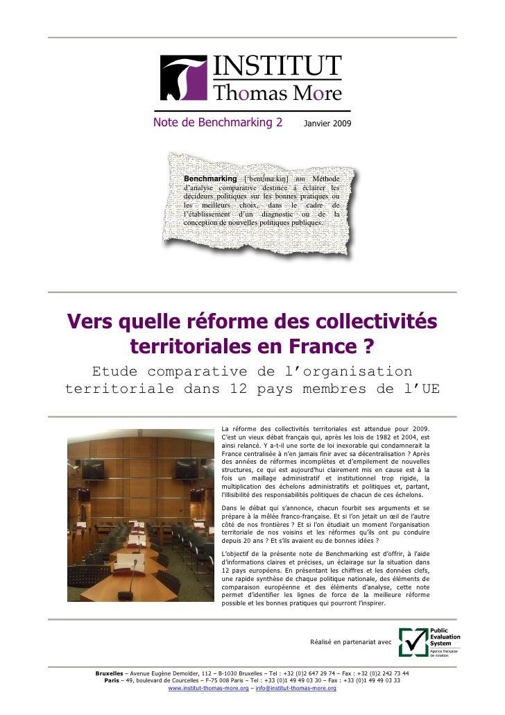 Vers quelle réforme des collectivités  territoriales en France ?  Etude comparative de l'organisation  territoriale dans 1...
