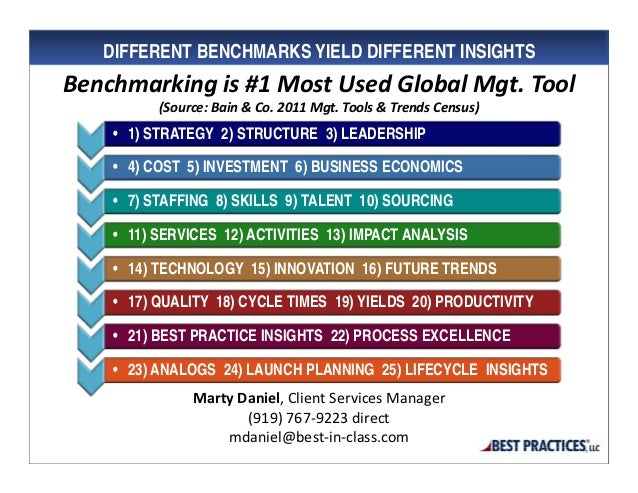 DIFFERENT BENCHMARKS YIELD DIFFERENT INSIGHTSBenchmarkingis#1MostUsedGlobalMgt.Tool          (Source:Bain&Co.20...