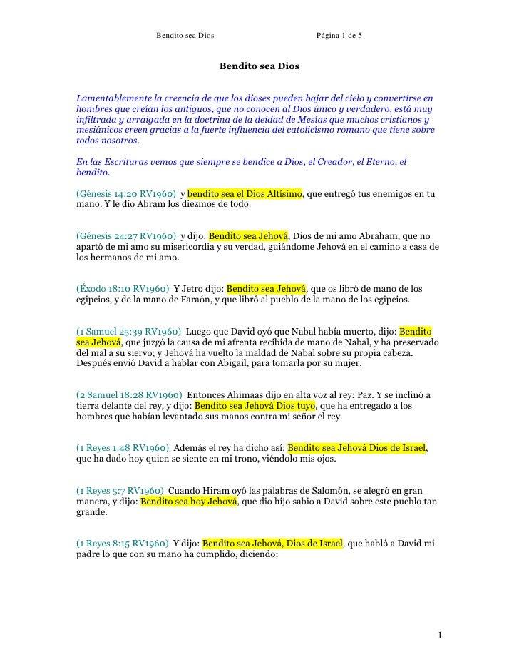 Bendito sea Dios                       Página 1 de 5                                         Bendito sea Dios   Lamentable...