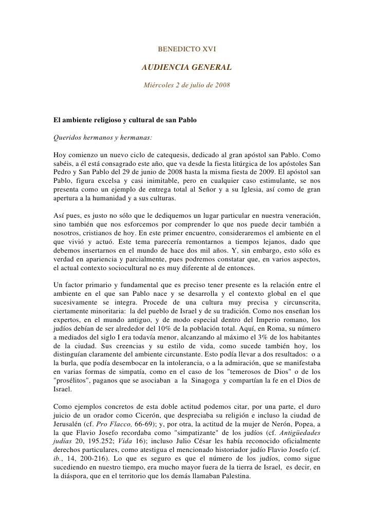 Benedicto Xvi Catequesis Sobre San Pablo