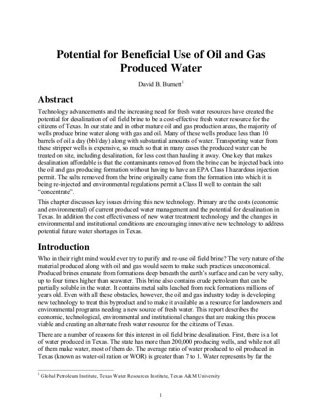 Potential for Beneficial Use of Oil and Gas                        Produced Water                                         ...
