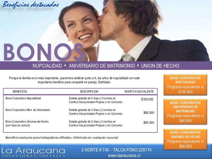 Beneficios destacados<br />BONOS<br />NUPCIALIDAD      ANIVERSARIO DE MATRIMONIO     UNION DE HECHO<br />BONO CORPORATIVO ...