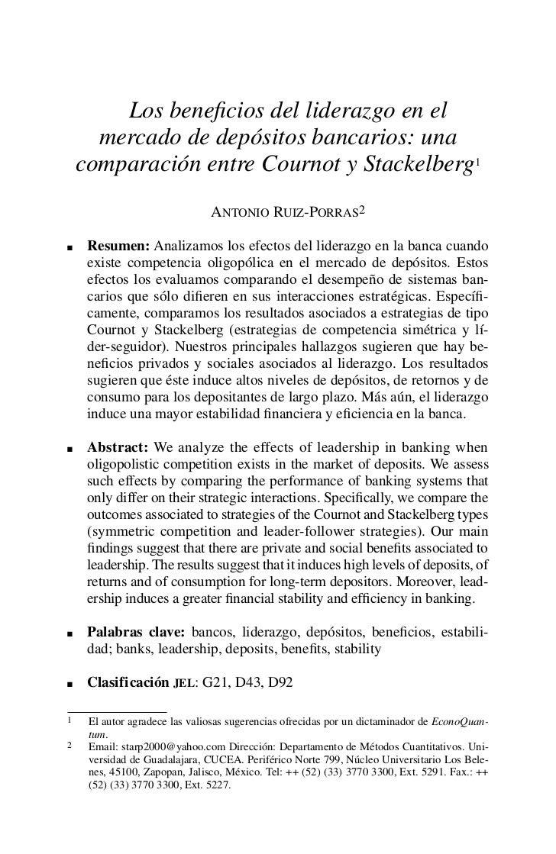 Losbeneficiosdelliderazgoenel      mercadodedepósitosbancarios:una    comparaciónentreCournotyStackelberg1 ...