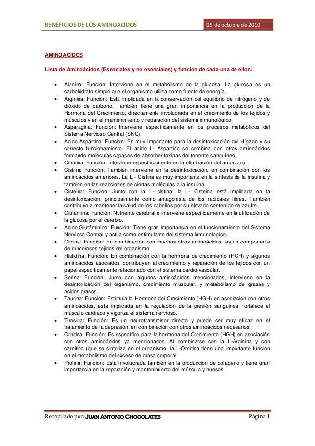 BENEFICIOS DE LOS AMINOACIDOS 25 de octubre de 2010 Recopilado por: Juan Antonio Chocolates Página 1 AMINOACIDOS Lista de ...