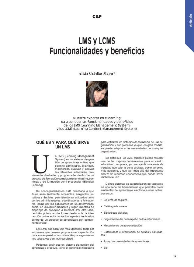 LMS y LCMS. Funcionalidades y beneficios.