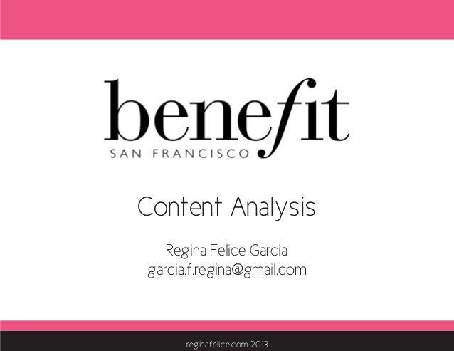 benefit cosmetics content analysis