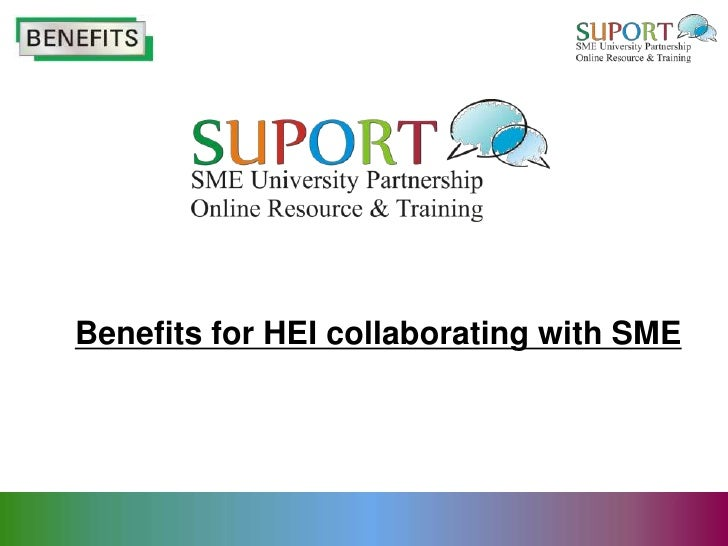 Benefits for HEI collaborating with SME