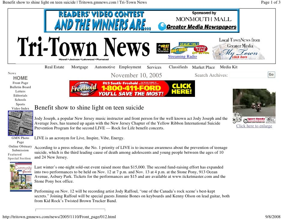 Benefit show to shine light on teen suicide | Tritown.gmnews.com | Tri-Town News                                          ...