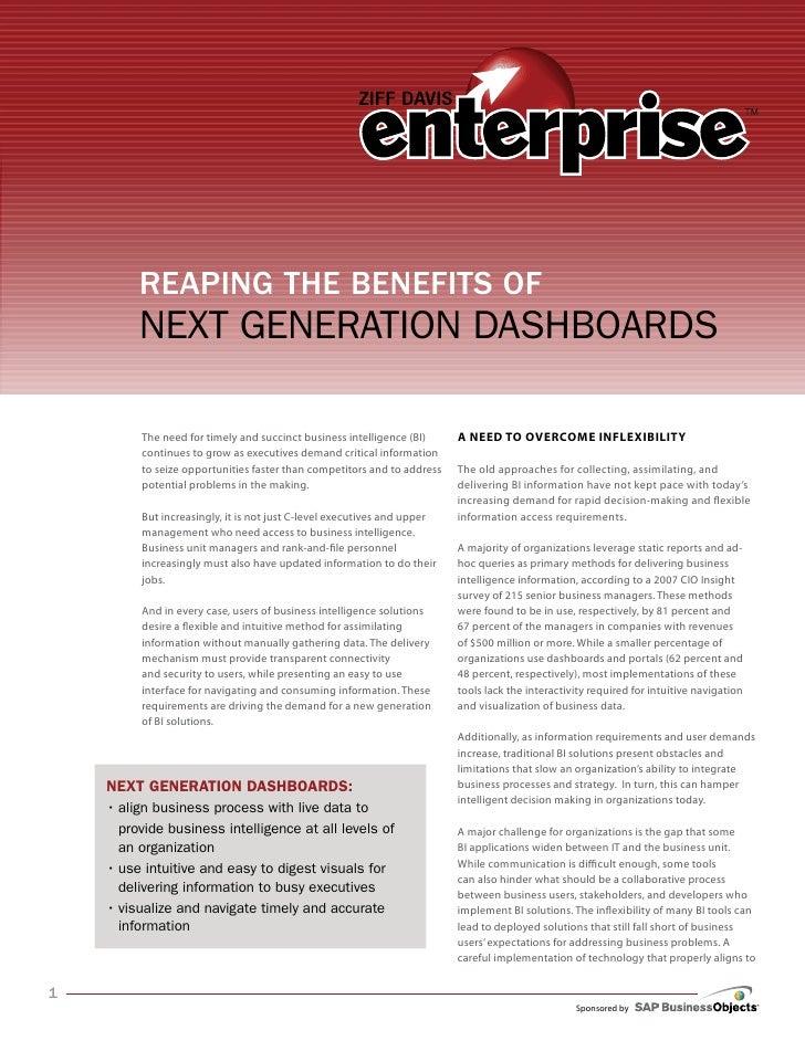 Benefits of NextGeneration Dashboards