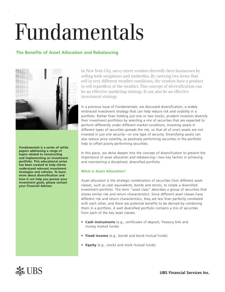 Fundamentals The Benefits of Asset Allocation and Rebalancing                                          In New York City, s...